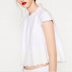 Zara Tops - Zara Tweed Cropped Top w/ Lace Band